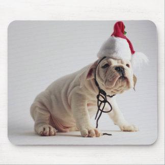 Bulldog Puppy Wearing Santa Hat Mouse Pad