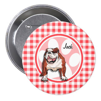 Bulldog; Red and White Gingham Pinback Buttons