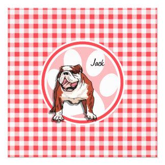Bulldog; Red and White Gingham Invitations