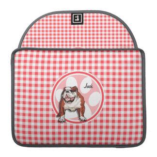 Bulldog; Red and White Gingham MacBook Pro Sleeve