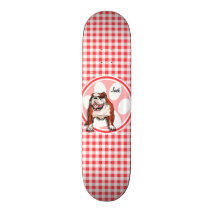Bulldog; Red and White Gingham Skateboard