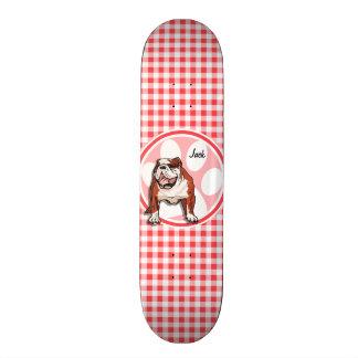 Bulldog; Red and White Gingham Skateboard
