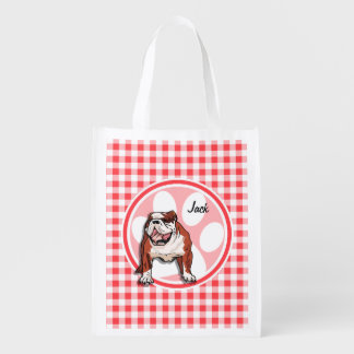 Bulldog; Red and White Gingham Market Totes