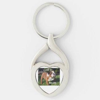 bulldog red and white love w pic keychain