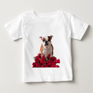Bulldog Red Roses Bloom Birthday Anniversary Baby T-Shirt