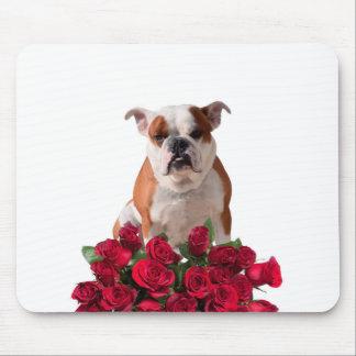 Bulldog Red Roses Bloom Birthday Anniversary Mouse Pad