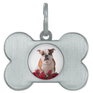 Bulldog Red Roses Bloom Birthday Anniversary Pet Name Tag