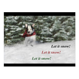 Bulldog Rescue Pup Dashing through the Snow Postcard