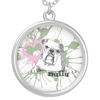 Bulldog Round Pendant Necklace