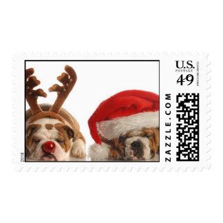 Bulldog Santa and Postage Stamps