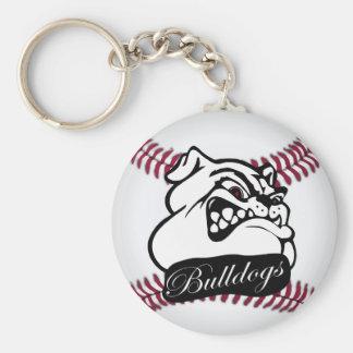 Bulldog School Team Mascot Baseball Keychain
