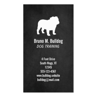 Bulldog Silhouette - Chalkboard Style Business Card