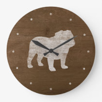 Bulldog Silhouette Large Clock
