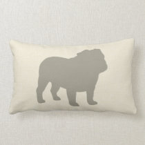 Bulldog Silhouette Lumbar Pillow