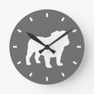 Bulldog Silhouette on Grey - Color Customizable Round Clock