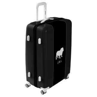 Bulldog Silhouette Personalized Luggage