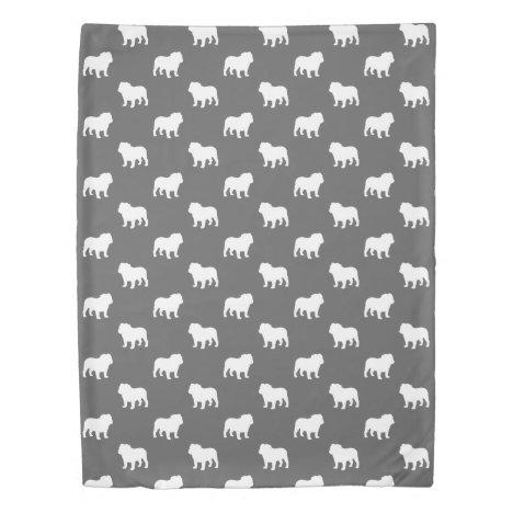 Bulldog Silhouettes Pattern Grey Duvet Cover