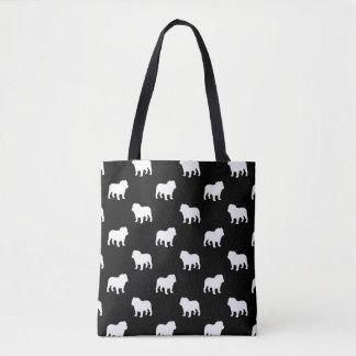 Bulldog Silhouettes Pattern Tote Bag