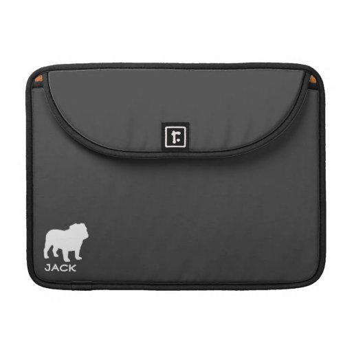 Bulldog Silhouettes with Custom Text and Colors Sleeves For MacBook Pro