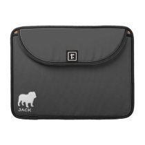 Bulldog Silhouettes with Custom Text and Colors Sleeve For MacBook Pro