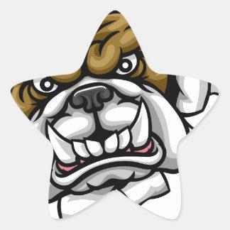 Bulldog Soccer Football Mascot Star Sticker
