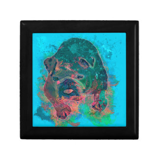 Bulldog Splash Watercolor Painting Jewelry Box