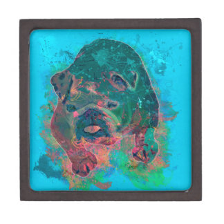 Bulldog Splash Watercolor Painting Keepsake Box