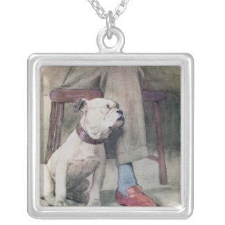 Bulldog Square Pendant Necklace