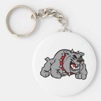Bulldog Style Basic Round Button Keychain