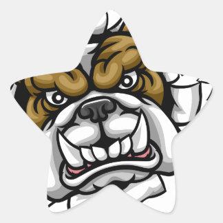 Bulldog Tennis Sports Mascot Star Sticker