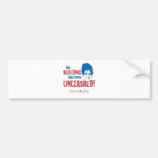 Bulldog Unleashed Red Wht Blue - Sarah Palin 2012 Bumper Sticker