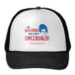 Bulldog Unleashed Red Wht Blue - Sarah Palin 2012 Trucker Hats