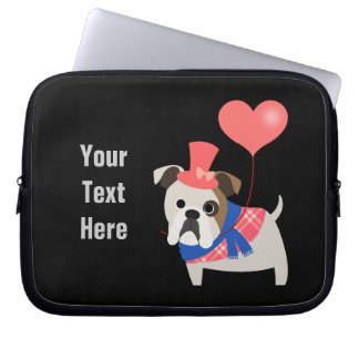 Bulldog Valentine (customizable) Computer Sleeve