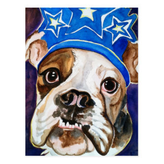 Bulldog Watercolor Dog Art Painting Postcard