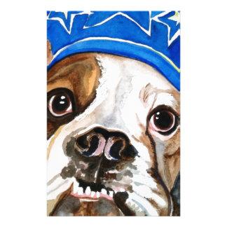 Bulldog Watercolor Dog Art Painting Stationery Paper