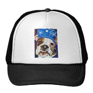 Bulldog Watercolor Dog Art Painting Trucker Hats