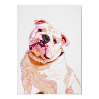 Bulldog Watercolor Portrait 5x7 Print Card