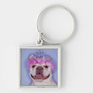 Bulldog wearing tiara keychain