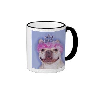 Bulldog wearing tiara coffee mugs