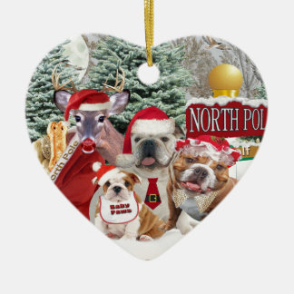 Bulldog Weather Is Frightful Double-Sided Heart Ceramic Christmas Ornament