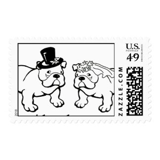Bulldog Wedding Postage Stamps in Black