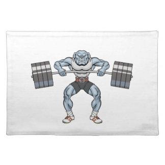 bulldog weight lifter placemat
