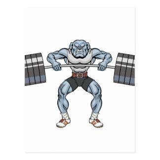bulldog weight lifter postcard