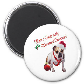 Bulldog Wishes for Pawsitively Wonderful Christmas 2 Inch Round Magnet