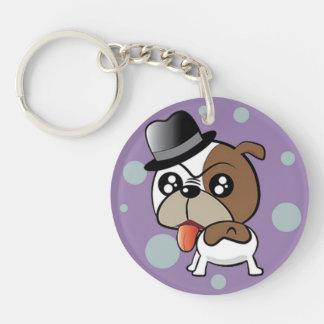 Bulldog with a Silk Hat Keychain