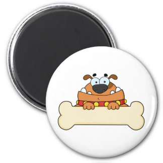 bulldog with bone for text 2 inch round magnet