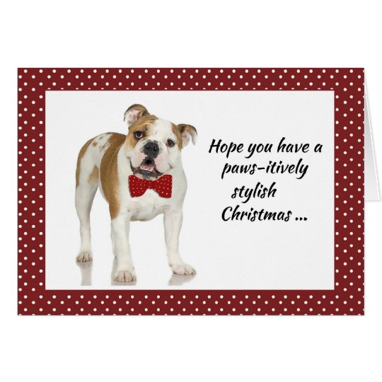 Bulldog with Bow Tie Christmas Card on Red