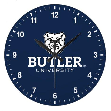 Bulldog with Butler University Wordmark Large Clock