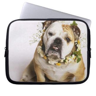 Bulldog with flower collar laptop sleeve