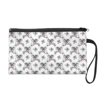 Bulldog with glasses wristlet purse